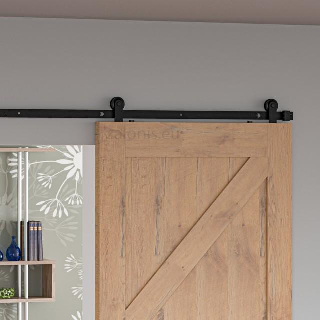 BARN DOOR RAIL 200cm/300cm BLACK D.70